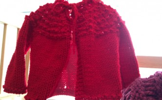 red hand knit sweater